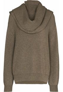 Frankie Shop Suéter De Tricô Com Cachecol - Cinza