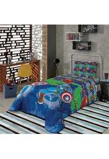 Edredom Dupla Face Solteiro Lepper Avengers 150X220Cm Azul