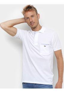 Camisa Polo Lacoste Original Fit Bolso - Masculino-Branco+Cinza