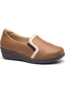 Sapato Feminino Anabela 190 Em Couro Doctor Shoes - Feminino-Caramelo