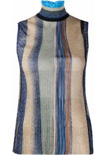 Missoni Blusa De Tricô Com Listras - Azul