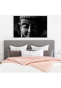 Quadro Com Moldura Buddha Em Cinza Branco - Médio