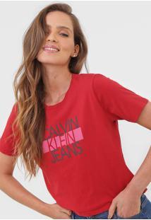 Blusa Cropped Calvin Klein Jeans Logo Vermelha - Vermelho - Feminino - Algodã£O - Dafiti