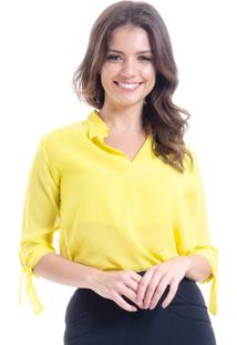 Camisa 101 Resort Wear Polo Mangas 3/4 Laço Cetim Amarela