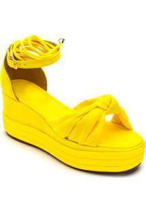 Sandália Anabela Salto Médio Em Nobucado Amarelo