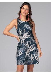 Vestido Curto Floral Marinho Sem Mangas