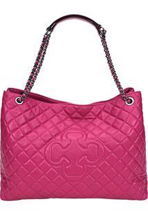 Bolsa Couro Capodarte Shopper Relax Feminina - Feminino-Pink