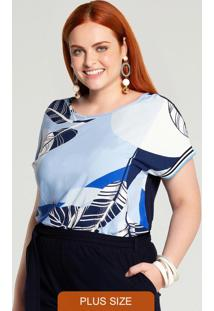 Blusa Plus Size Mullet Azul
