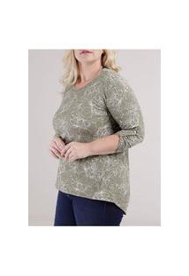 Blusa Mga 3/4 Autentique Plus Size Feminino Verde