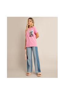 Calça Wide Leg Pantalona Jeans Cintura Super Alta Com Recorte Patchwork Sawary Azul Médio