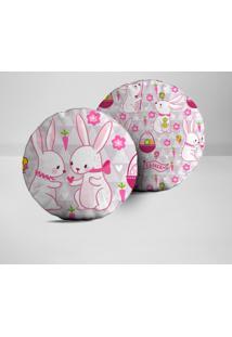 Kit 2 Almofadas Redondas Happy Easter Beautiful