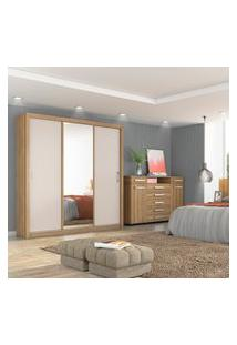 Guarda Roupa Casal Residence Demóbile 3 Portas E Espelho Amêndola/Grafito