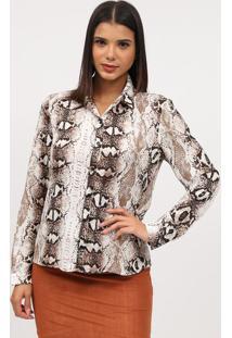 Camisa Animal Print- Marrom Escuro & Branca- Milioremiliore
