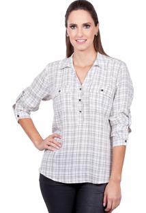 Camisa Love Poetry Estampa Xadrez Off-White