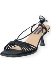 Sandalia Salto Taça Love Shoes Tirinhas Delicadas Preto - Kanui