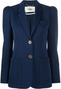 Fendi Blazer Com Bolso E Abotoamento Simples - Azul