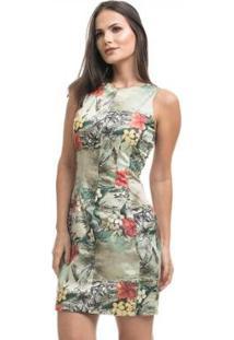 Vestido Clara Arruda Satin Recortes - Feminino-Verde Militar