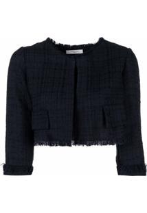 Charlott Jaqueta Cropped De Tweed - Azul