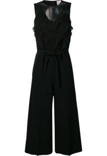 Red Valentino Tulle Detail Jumpsuit - Preto