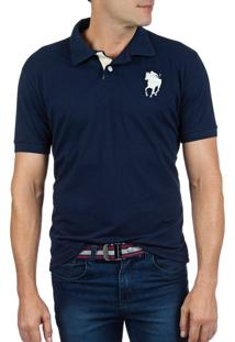 Camisa Polo Colombo Bordado Azul-Marinho