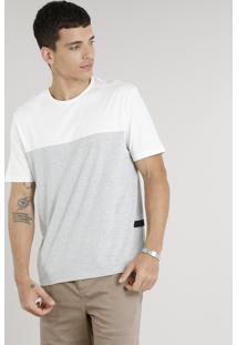 Camiseta Masculina Com Recorte Manga Curta Gola Careca Off White