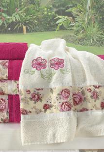 Jogo De Banho Bia Enxovais Bordado Floral Algodã£O 5 Peã§As - Pink / Palha - Pink - Dafiti