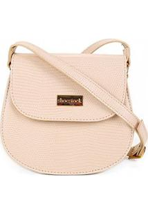 Bolsa Shoestock Transversal Lezard Mini Bag Feminina - Feminino-Off White
