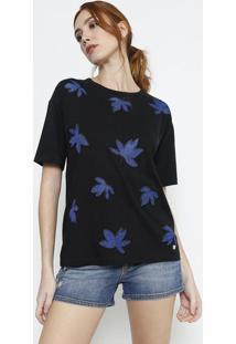 Camiseta Com Folhagens - Preta & Azulversus