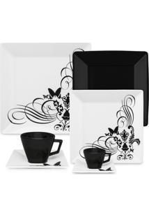 Aparelho De Jantar Chã¡ E Cafã© 42 Pã§S Oxford Tatoo Black - Multicolorido - Dafiti