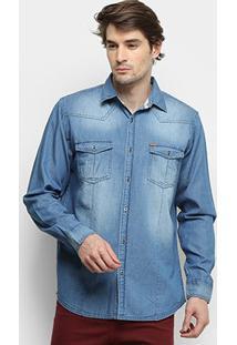 Camisa Jeans Manga Longa Gajang Rock Port Masculina - Masculino-Jeans