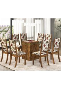 Conjunto Para Sala De Jantar Mesa E 8 Cadeiras Amora Siena Móveis Avelã/Primavera