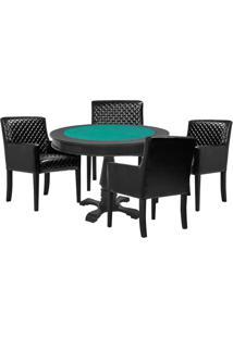 Mesa De Jogos Carteado Victoria Redonda Tampo Reversível Preto Com 4 Cadeiras Liverpool Corino Preto Matelassê - Gran Belo