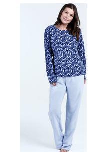 Pijama Feminino Estampa Folhas Manga Longa Marisa