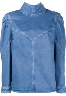 Isabel Marant Blusa Jeans Espera Com Ombreiras - Azul