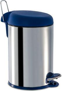 Lixeira Com Pedal- Inox & Azul Escuro- 33,5X23X22,5Cbrinox