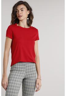 Blusa Feminina Com Botões Manga Curta Decote Redondo Vermelha