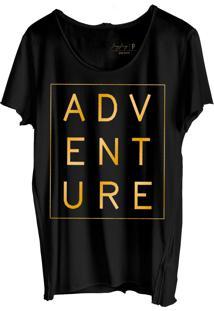 Camiseta Joss Corte A Fio Preto Abdução Dourado