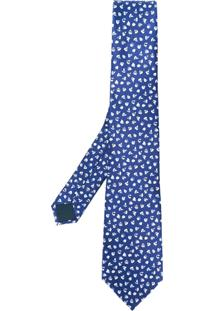 Lanvin Gravata De Seda Com Estampa - Azul