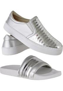 Kit Tênis Emanuelly Shoes Slip On + Chinelo Feminino - Feminino-Prata