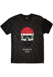 Camiseta Bsc Caveira País Iraque Sublimada Masculina - Masculino-Preto