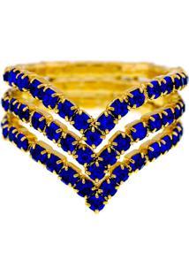 Anel Horus Import Azul Safira Triplo Banhado Ouro Amarelo 18 K - 1010102 - Amarelo/Dourado - Feminino - Dafiti