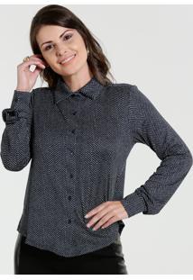 Camisa Feminina Liganete Manga Longa Bolinhas Marisa