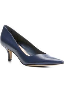 Scarpin Couro Shoestock Salto Médio - Feminino-Marinho