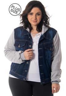 94bfea1394fa7 ... Jaqueta Jeans Moletom Inovare Modas Plus Size Azul