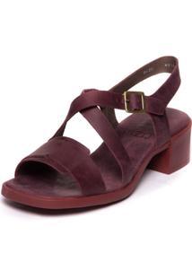 Sandalia Com Salto Grosso Em Couro - Tomate Seco 4918 - Kanui