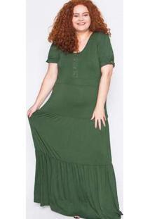 Vestido Longo Plus Size Liso Verde