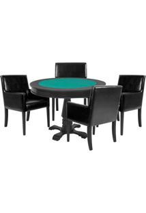 Mesa De Jogos Carteado Victoria Redonda Tampo Reversível Preto Com 4 Cadeiras Liverpool Corino Preto Liso - Gran Belo