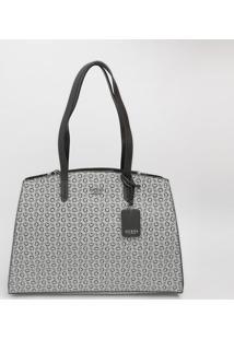 Bolsa Com Bolso Interno & Bag Charm - Cinza & Preta-Guess