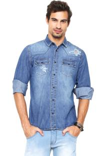 Camisa Jeans Coca-Cola Jeans Bolsos Azul