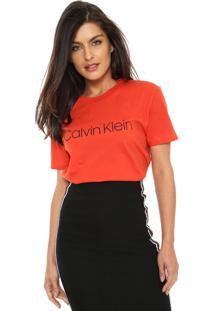 Camiseta Calvin Klein Logo Laranja